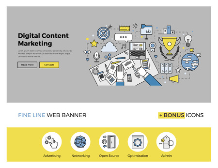 content management: Flat line design of web banner template with outline icons of digital content marketing editor at work, business workflow online strategy. Modern vector illustration concept for website or infographics.