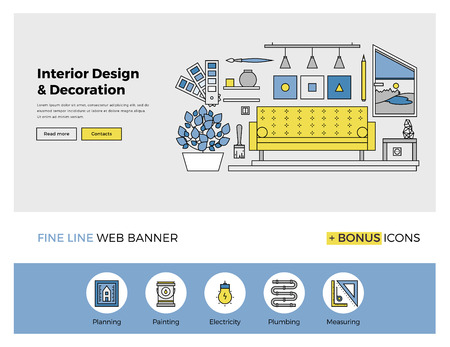 거실 인테리어 디자인과 예술, 세련된 홈 아파트 장식 작업의 개요 아이콘 웹 배너 서식의 평면 라인 디자인. 웹 사이트 또는 인포 그래픽 현대 벡터 일