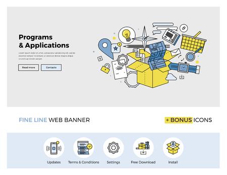 design de linha fixa de modelo de web banner com ícones esboço de actualização de software de computador, serviços de aplicativos móveis, baixe e instale. conceito ilustração vetorial moderna para site ou infográficos.