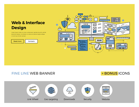 seo concept: Flat line design of web banner template with outline icons of website interface sketching, prototyping UI and UX content, web page test. Modern vector illustration concept for website or infographics.