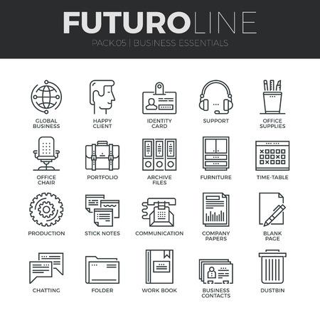 현대 얇은 라인 아이콘 기본적인 비즈니스 필수 도구, 사무실 장비의 집합입니다. 프리미엄 품질 개요 기호 컬렉션입니다. 간단한 모노 선형 그림 팩.