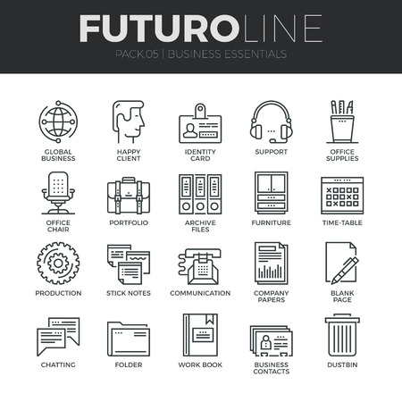 Modern thin line icons set of basic business essential tools, office equipment. Premium quality outline symbol collection. Simple mono linear pictogram pack. Stroke vector logo concept for web graphics. Ilustracja
