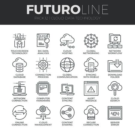 Ícones modernos Linha fina conjunto de serviços de tecnologia de dados em nuvem, conexão global. Qualidade cobrança de prêmio símbolo de destaque. Simples pacote pictograma mono linear. Conceito do logotipo do curso do vetor para gráficos web.
