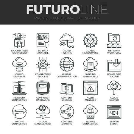 syncing: Modern thin line icons set of cloud data technology services, global connection. Premium quality outline symbol collection. Simple mono linear pictogram pack. Stroke vector logo concept for web graphics. Illustration