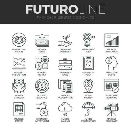 Modern thin line icons set of business economic development, financial growth. Premium quality outline symbol collection. Simple mono linear pictogram pack. Stroke vector logo concept for web graphics. Stock Illustratie
