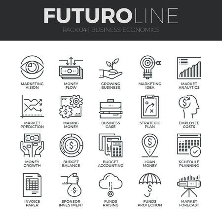 desarrollo económico: Modernos iconos de línea delgada del desarrollo económico, el crecimiento del negocio financiero. Calidad de captación símbolo del esquema Premium. Paquete pictograma mono lineal simple. Trazo Vector logo concepto para gráficos web.