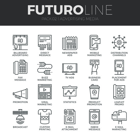 통신: 광고 미디어 채널과 광고 유통 세트 현대 얇은 라인 아이콘. 프리미엄 품질 개요 기호 컬렉션입니다. 간단한 모노 선형 그림 팩. 웹 그래픽에 대한 스트