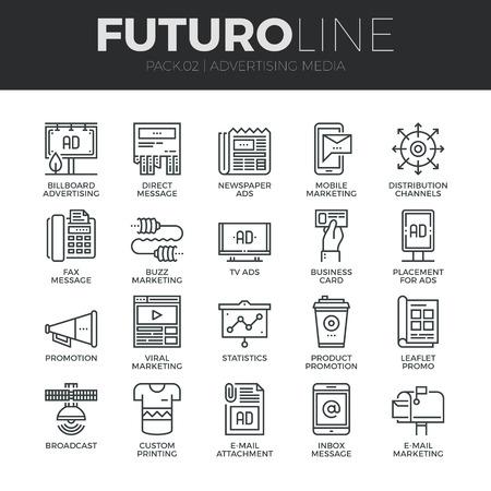 Modernos iconos de líneas finas conjunto de canales de los medios de publicidad y distribución de los anuncios. Calidad de captación símbolo del esquema Premium. Paquete pictograma mono lineal simple. Trazo Vector logo concepto para gráficos web.