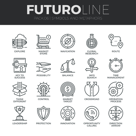 Modern thin line icons set of various business symbols and metaphor elements. Premium quality outline symbol collection. Simple mono linear pictogram pack. Stroke vector logo concept for web graphics. Ilustracja