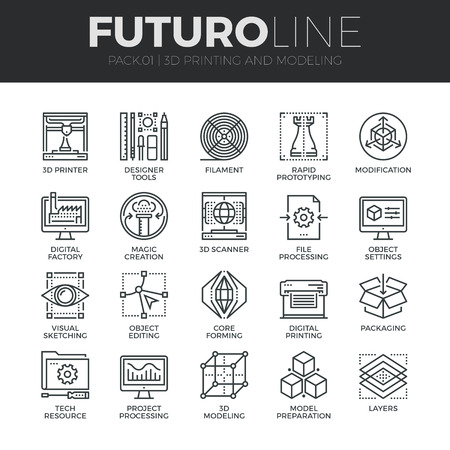 Modern thin line icons set of 3D printing, 3D modeling and scanning technology. Premium quality outline symbol collection. Simple mono linear pictogram pack. Stroke vector logo concept for web graphics. Ilustração