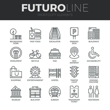 현대 얇은 라인 아이콘은 다양한 도시 요소, 거리의 교통 표지판의 집합입니다. 프리미엄 품질 개요 기호 컬렉션입니다. 간단한 모노 선형 그림 팩. 웹