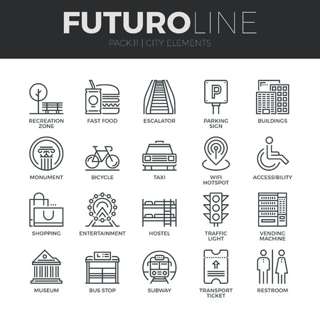Modern thin line icons set of various city elements, street transportation sign. Premium quality outline symbol collection. Simple mono linear pictogram pack. Stroke vector logo concept for web graphics.