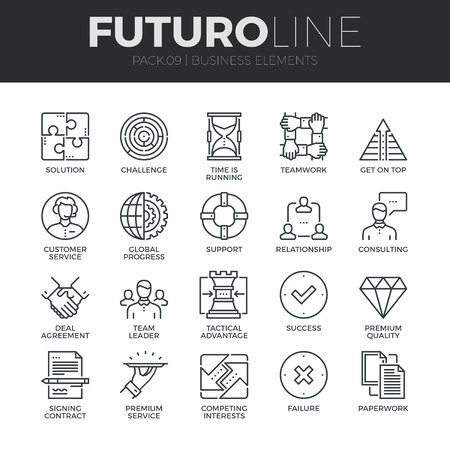 Modern thin line icons set of doing business elements, solution for clients. Premium quality outline symbol collection. Simple mono linear pictogram pack. Stroke vector logo concept for web graphics.