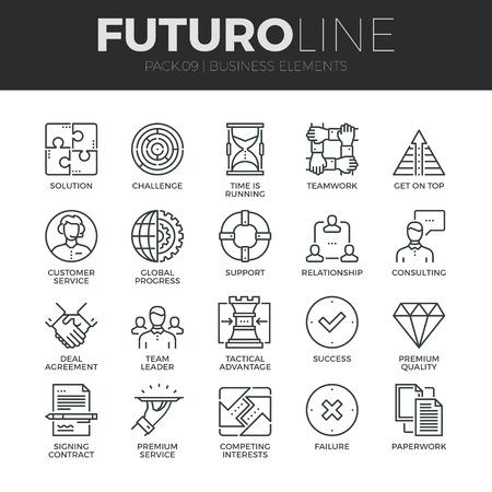 Moderne dünne Linie Icons Set Business-Elemente zu tun, Lösung für die Kunden. Premium-Qualität Gliederungssymbol Sammlung. Einfache Mono linear Piktogramm Packung. Stroke-Vektor-Logo-Konzept für Web-Grafiken.