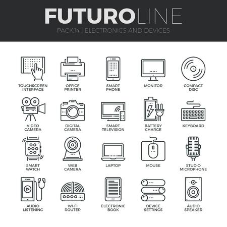 dotykový displej: Moderní tenká linie ikony sada domácí elektroniky a osobních multimediálních zařízení. Prvotřídní kvalita kolekce symbol přehledu. Jednoduché mono lineární piktogram pack. Zdvih vektorové logo koncept pro webovou grafiku.