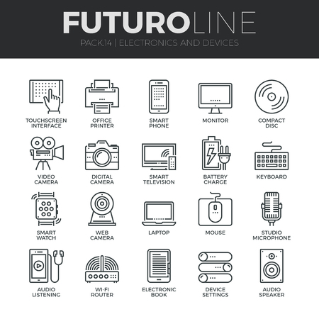 multimedia pictogram: Modern thin line icons set of home electronics and personal multimedia devices. Premium quality outline symbol collection. Simple mono linear pictogram pack. Stroke vector logo concept for web graphics.