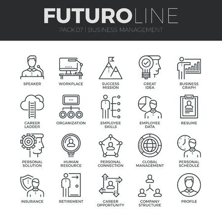 비즈니스 사람들이 관리 세트 현대 얇은 라인 아이콘, 직원의 조직. 프리미엄 품질 개요 기호 컬렉션입니다. 간단한 모노 선형 그림 팩. 웹 그래픽에 대