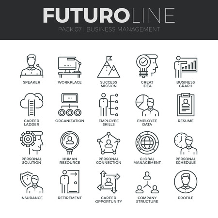 Modern thin line icons set of business people management, employee organization. Premium quality outline symbol collection. Simple mono linear pictogram pack. Stroke vector logo concept for web graphics. Stock Illustratie