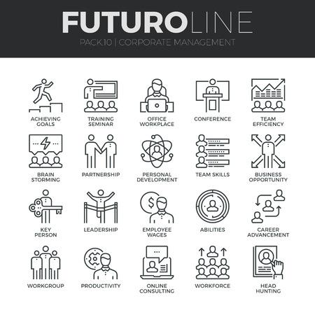 Ícones linha fina moderno conjunto de gestão corporativa e treinamento líder empresarial. Qualidade cobrança de prêmio símbolo de destaque. Simples pacote pictograma mono linear. Conceito do logotipo do curso do vetor para gráficos web.