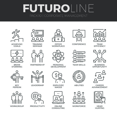 Moderne dunne lijn iconen set van corporate management en business leider training. Premium kwaliteit schets symbool collectie. Eenvoudige mono lineaire pictogram verpakking. Beroerte vector logo concept voor web graphics. Stock Illustratie