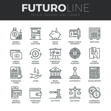Moderne dunne lijn iconen set van geld te maken, bancaire en financiële diensten. Premium kwaliteit schets symbool collectie. Eenvoudige mono lineaire pictogram verpakking. Beroerte vector logo concept voor web graphics.