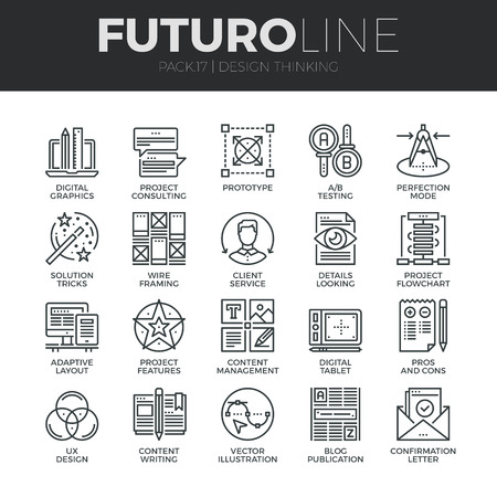 features: Modern thin line icons set of content production studio, solution projecting. Premium quality outline symbol collection. Simple mono linear pictogram pack. Stroke vector logo concept for web graphics.