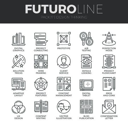 Moderne dünne Linie Symbole Reihe von Content-Produktion Studio, Lösung vorsteht. Premium-Qualität Gliederungssymbol Sammlung. Einfache Mono linear Piktogramm Pack. Stroke Vektor-Logo-Konzept für Web-Grafiken.