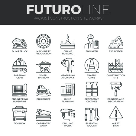 site: Modern thin line icons set of construction works on site and building tools. Premium quality outline symbol collection. Simple mono linear pictogram pack. Stroke vector logo concept for web graphics.