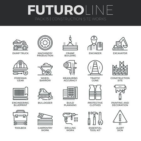 Moderne dünne Linie Icons Set der Bauarbeiten auf der Baustelle und Bau-Tools. Premium-Qualität Gliederungssymbol Sammlung. Einfache Mono linear Piktogramm Pack. Stroke Vektor-Logo-Konzept für Web-Grafiken.