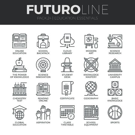 トレーニングとオンラインで学ぶ基礎教育の現代の細い線のアイコンを設定。プレミアム品質のアウトライン シンボルのコレクションです。簡単な