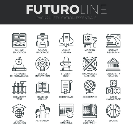 science icons: Modern thin line icons set of basic education training and studying online. Premium quality outline symbol collection. Simple mono linear pictogram pack. Stroke vector logo concept for web graphics.