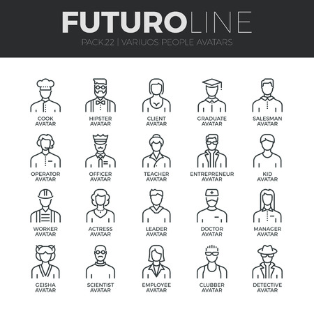 people in line: Modern thin line icons set of people avatars, various human characters staff.