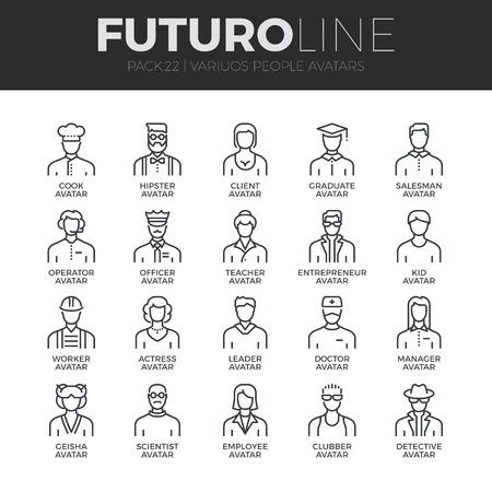 secretarias: Modernos iconos de líneas finas conjunto de personas avatares, varios miembros del personal caracteres humanos.