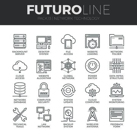 технология: Современные тонкие линии иконки набор облачных вычислений сети, интернет-технологии передачи данных. Премиум качество символ наброски коллекция. Простой моно линейный пиктограмма пакет. Ход векторный логотип для веб-концепция графики.