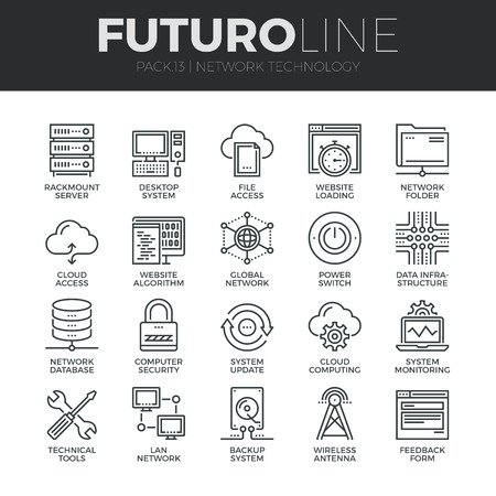 技术: 現代細線圖標集雲計算網絡,互聯網數據技術。高品質大綱符號集合。簡單的單聲道線性象形圖組。行程矢量標誌概念的網頁圖形。 向量圖像