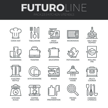 Modern thin line icons set of kitchen utensils, household tools and tableware.  Illustration