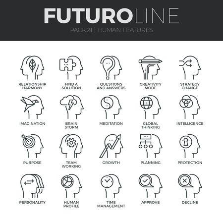 Modern thin line icons set of human mind features, characters profile identity.  Vettoriali