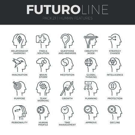 mente humana: Modernos iconos de líneas finas conjunto de características de la mente humana, personajes perfil de identidad.