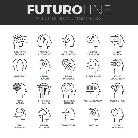 mind set: Modern thin line icons set of human mind process, brain features and emotions.