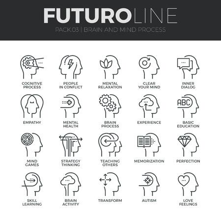 Modernos iconos de línea delgada del proceso de la mente humana, las características del cerebro y las emociones. Ilustración de vector