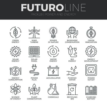 ícones modernos fina linha definidos de energia verde eco amigável, fontes limpas de energia.