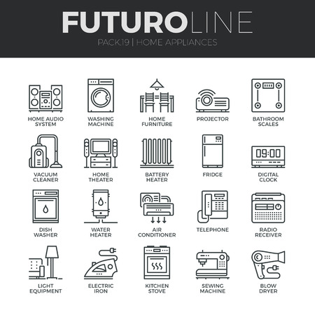 household goods: Modern thin line icons set of home appliances, household consumer electronics.