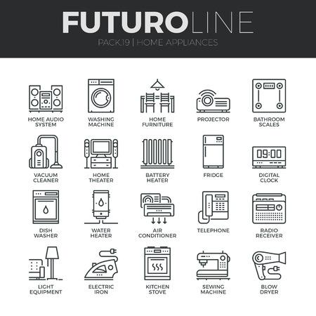 gospodarstwo domowe: Nowoczesne cienkie linie ikony zestaw sprzętu AGD, elektroniki użytkowej w gospodarstwie domowym.