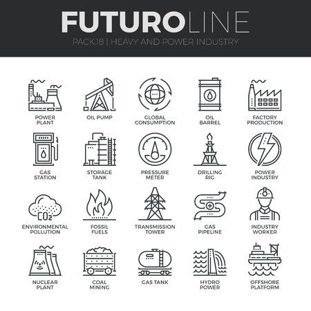현대 얇은 라인 아이콘 중공업, 발전소, 광산 자원의 집합입니다.