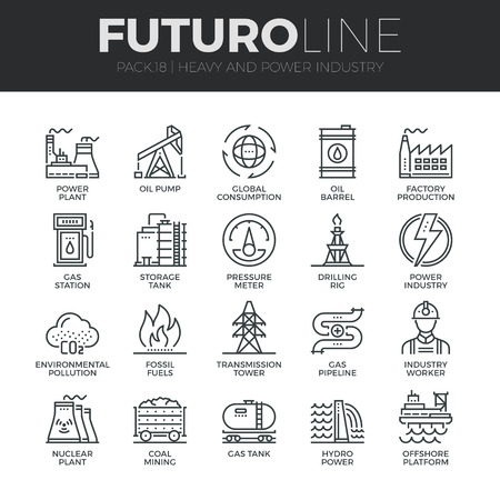 Modern thin line icons set of heavy industry, power plant, mining resources.