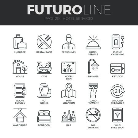 Moderne dunne lijn iconen set van hotel service voorzieningen, huur house faciliteiten. Stock Illustratie