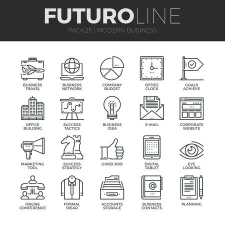 Ícones de linha fina modernas definir de fazer negócios utilizando a tecnologia e comunicação.