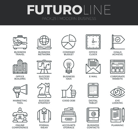 Moderne dünne Linie Icons Set der Geschäftstätigkeit mit Technologie und Kommunikation.