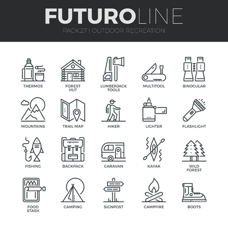 Modern thin line icons set of  outdoor recreation activity and hiking tourism. Premium quality outline symbol collection. Simple mono linear pictogram pack. Stroke vector logo concept for web graphics.
