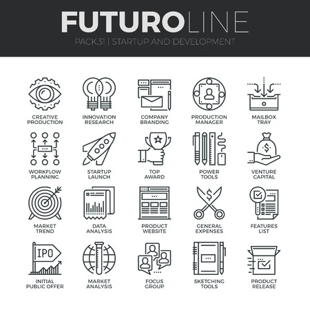 Modern thin line icons set of startup business and launch new product on market. Premium quality outline symbol collection. Simple mono linear pictogram pack. Stroke vector concept for web graphics. Reklamní fotografie - 48631506